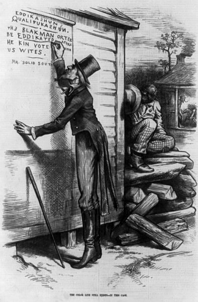"January 1879 cartoon from Harper's Weekly despicting ""Mr. Solid South"" writing out the straegy of racial resentment: The Blak man orter be eddikated afore he kin vote with us Wites."""