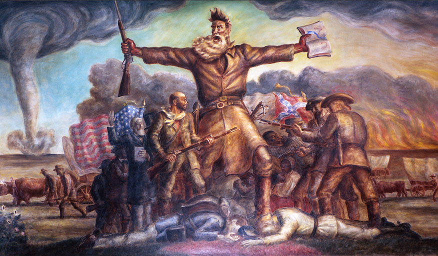 Tragic Prelude, by John Steuart Curry, located in the second floor rotunda of the Kansas State Capital. This painting depicts, among other things, the combustible mixture of fear that led to the Civil War
