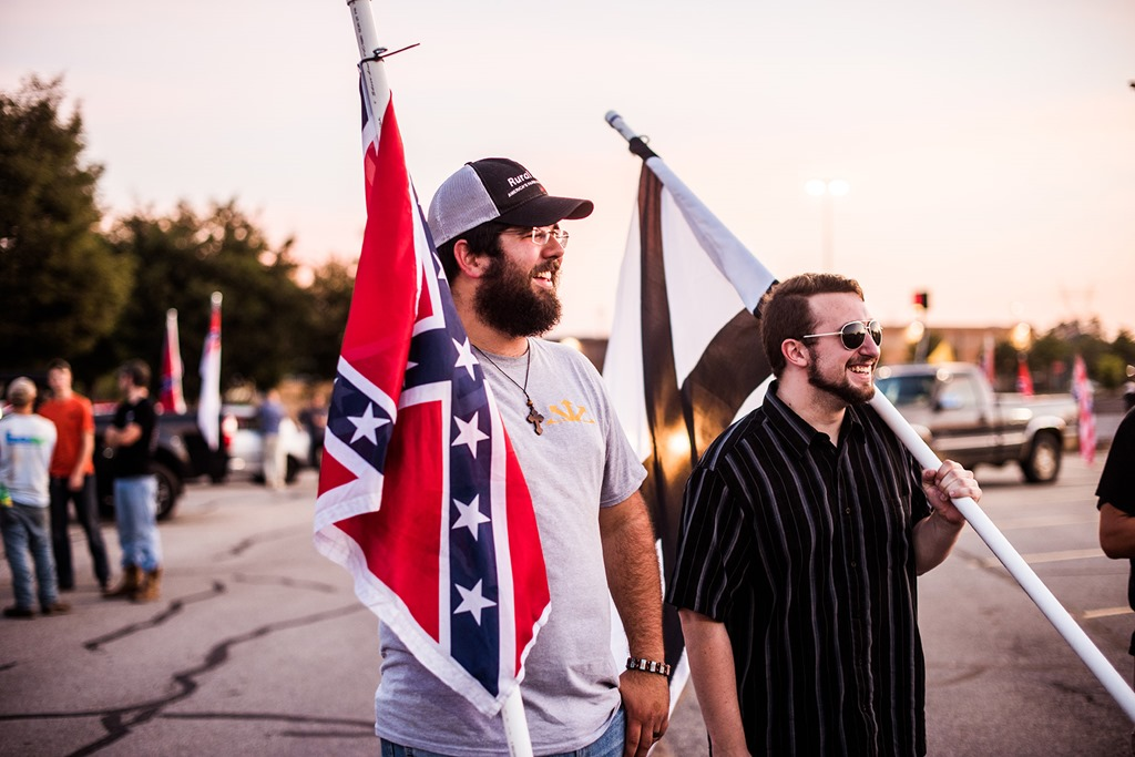 Matthew Heimbach displays the Confederate flag -- and his beard -- for white culture.