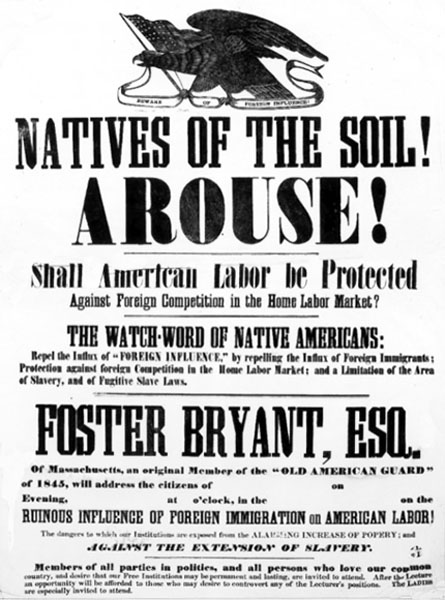 A Know Nothing poster from the 1840s. Hatin' immihrants is a grand American tradition.