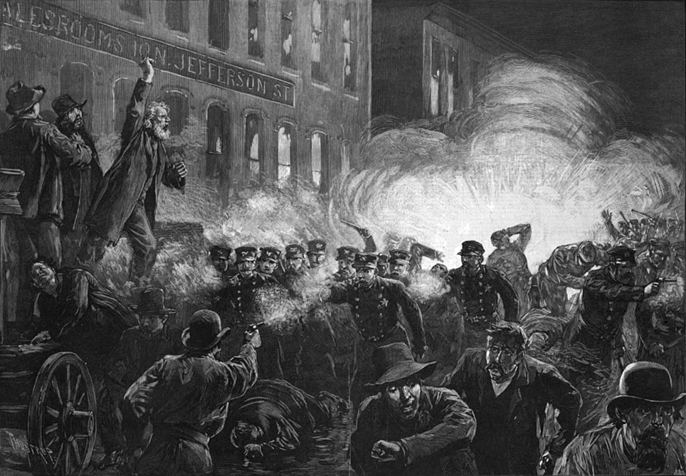 The 1886 bombing of labor demonstrators in Chicago's Haymarket Square. Can't you just see the freedom!!??