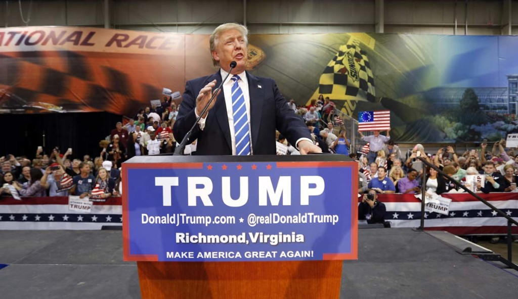Donalnd Trump trumpets the politics of exclusivity in Richmond, VA. Former capital of the Old Confederacy.