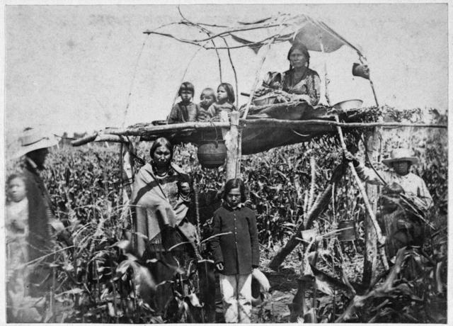 These native individuals, pictured guarding corn justbefore the Dakota War of 1862-62, would have had something to say about the government taking someone's land.