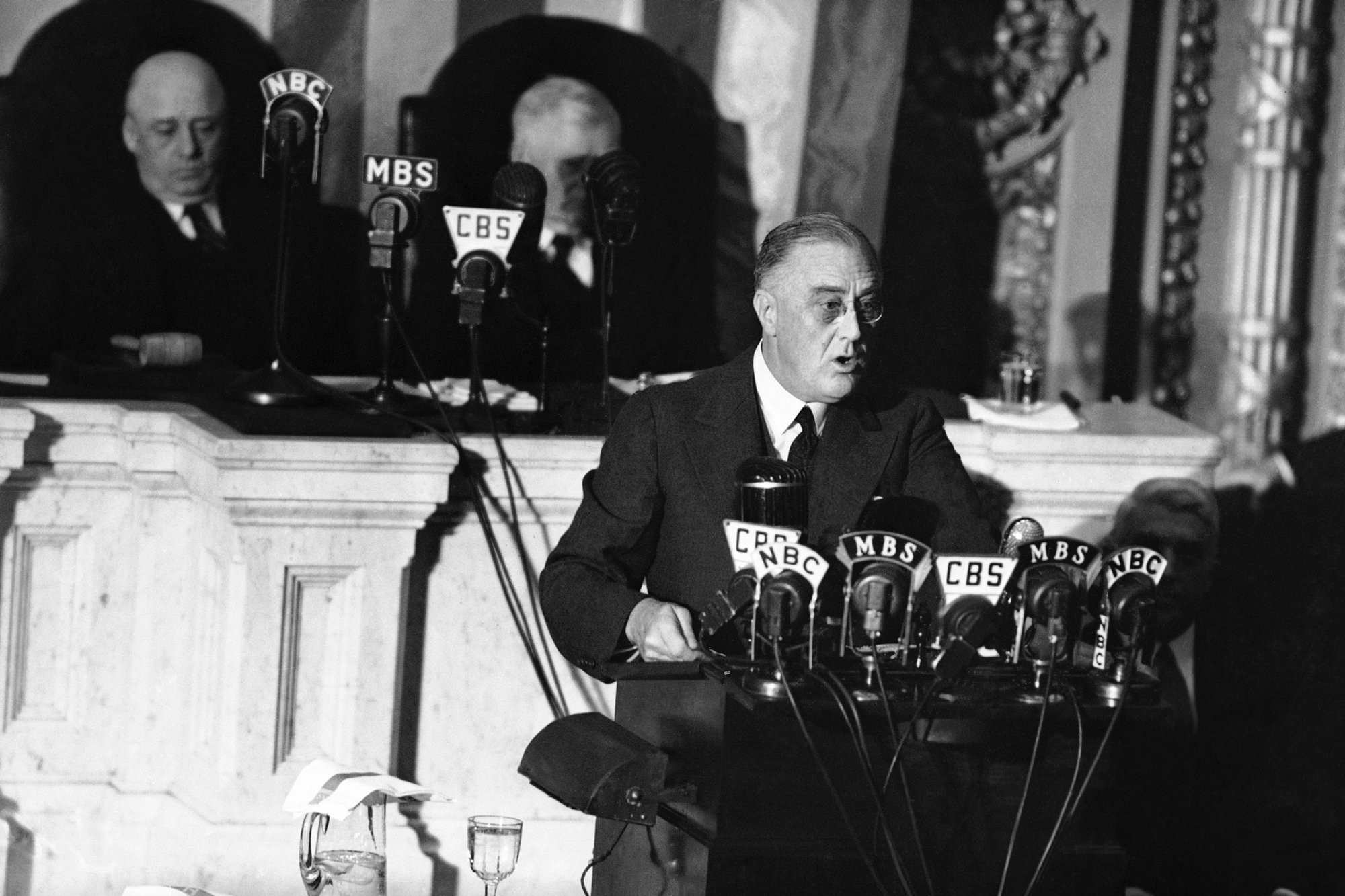 "FDR delivers his ""Four Freedoms"" speech, January 6, 1941."