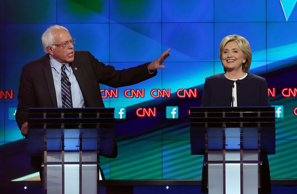 Bernie Sanders yells at those damn kids to get off his lawn, while Hillary Clinton smiles thinking about her next check from Wall Street.