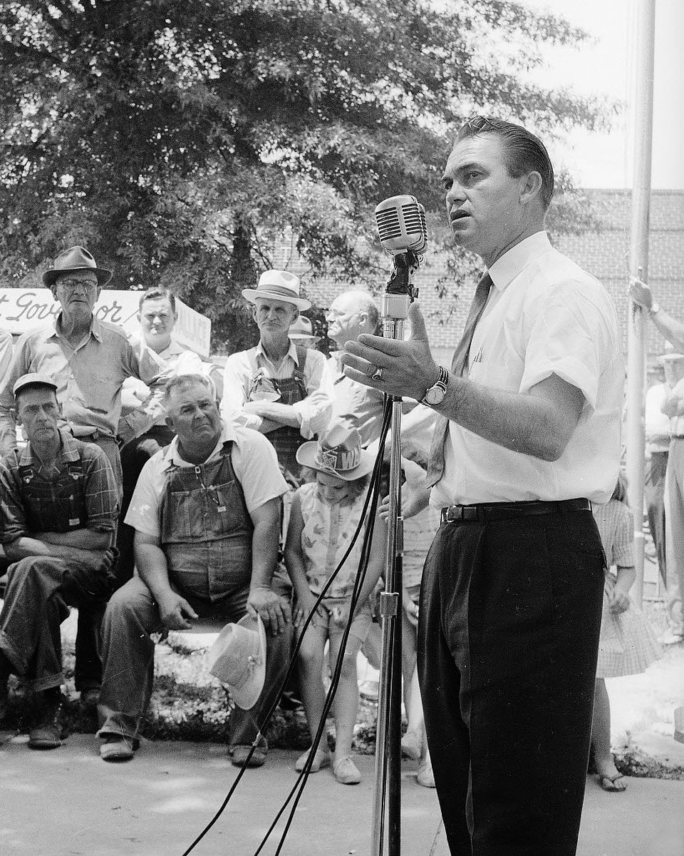 George Wallace campaigns in 1962 on behalf of aggrieved white dudes across Dixie