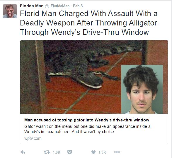 The Florida Man Twitter feed is the most American thing ever, because Florida IS America.