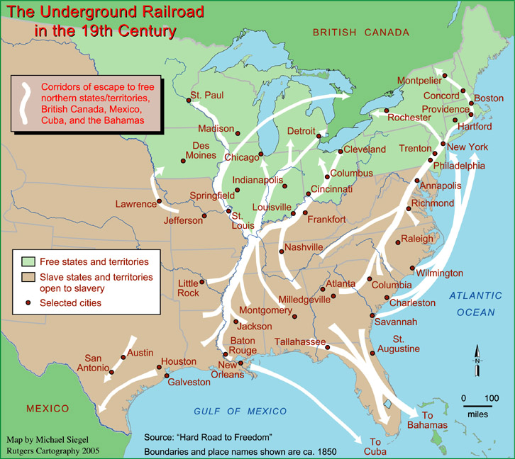 A map detailing the routes constituting the Underground Railroad, on which Harriet Tubman helped spread true freedom.