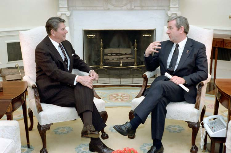 "Ronald Reagan meets with the Rev. Jerry Falwell in the Oval Office, March 1983. They discussed whether or not Jellie Bellies were a ""gay candy."""