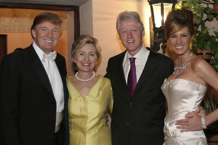 Bill and Hillary Clinton attend Donald Trump's 2005 wedding.