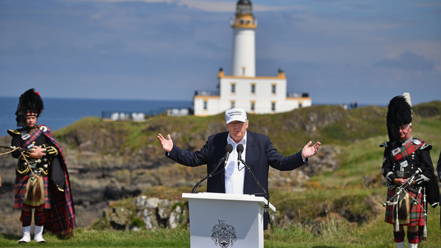 Donald Trump talks ethnic nationalism in Scotland, seemingly unaware that Scottish voters opted to remain in the EU.