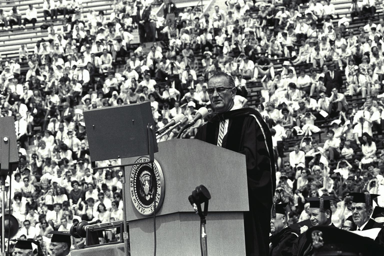 "LBJ introduces his ""Great Society"" in Ann Arbor, Michigan, 1964"