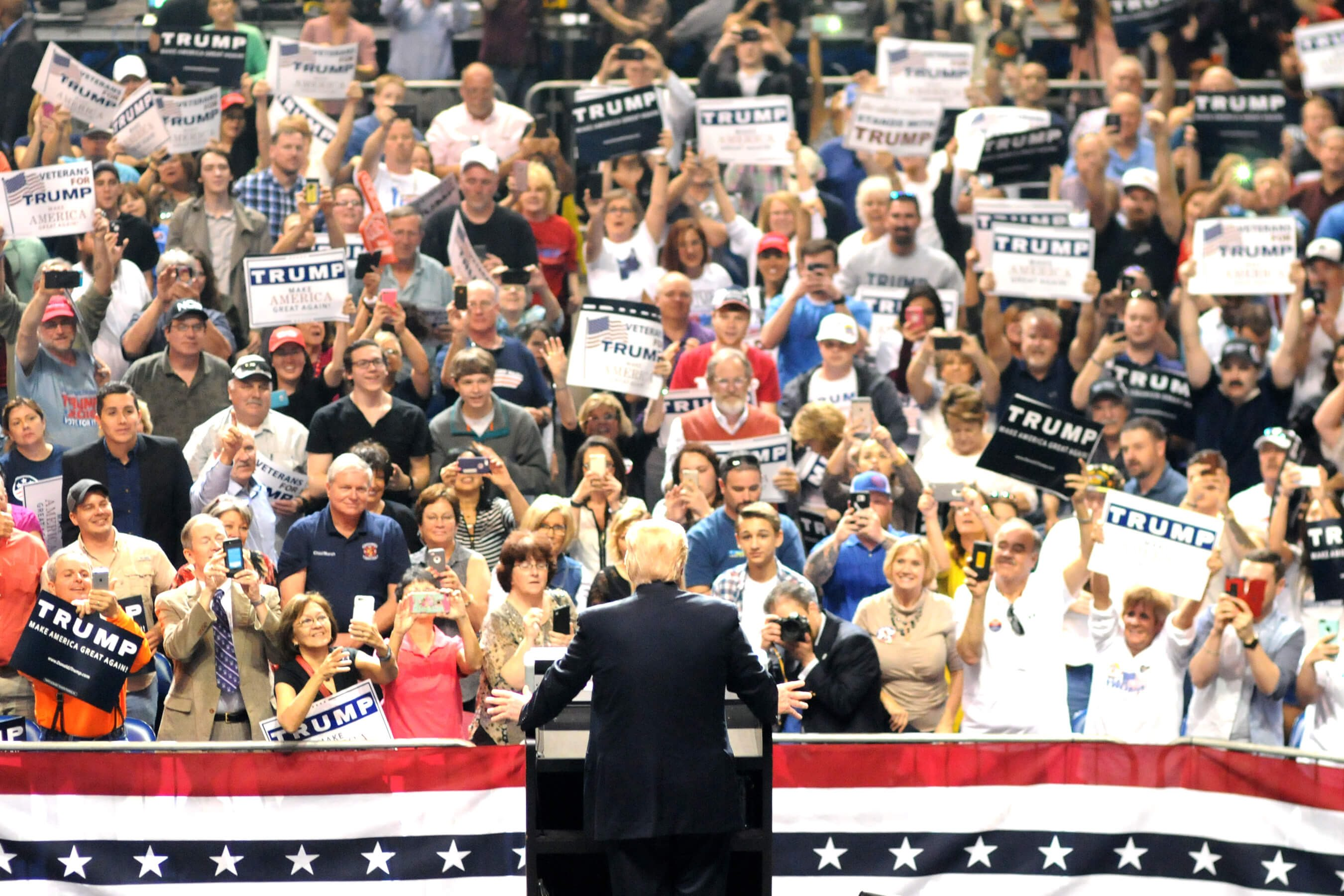 Donald Trump electrifies a crowd of white people in Erie, Pennsylvania, August 2016.