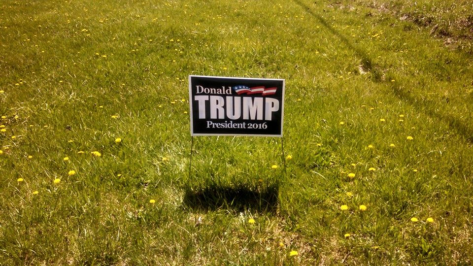 A Trump yard sign stuck in a yard in Meadville, PA, the county seat of western Crawford County.