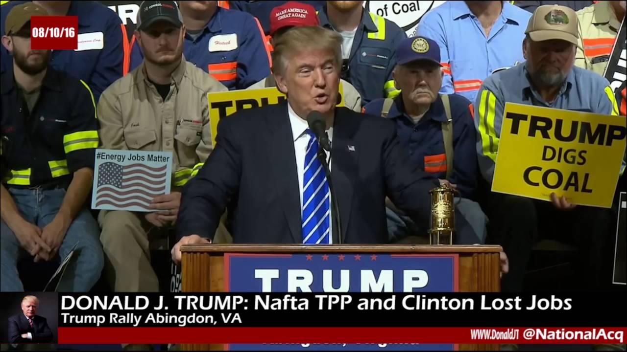 GOP candidate Donald Trump rail against NAFTA in Virginia.