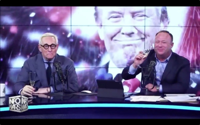 Roger Stone and Alex Jones celebrate Trump's victory. This is one of the most unnerving images to come out of the Trump victory yet.