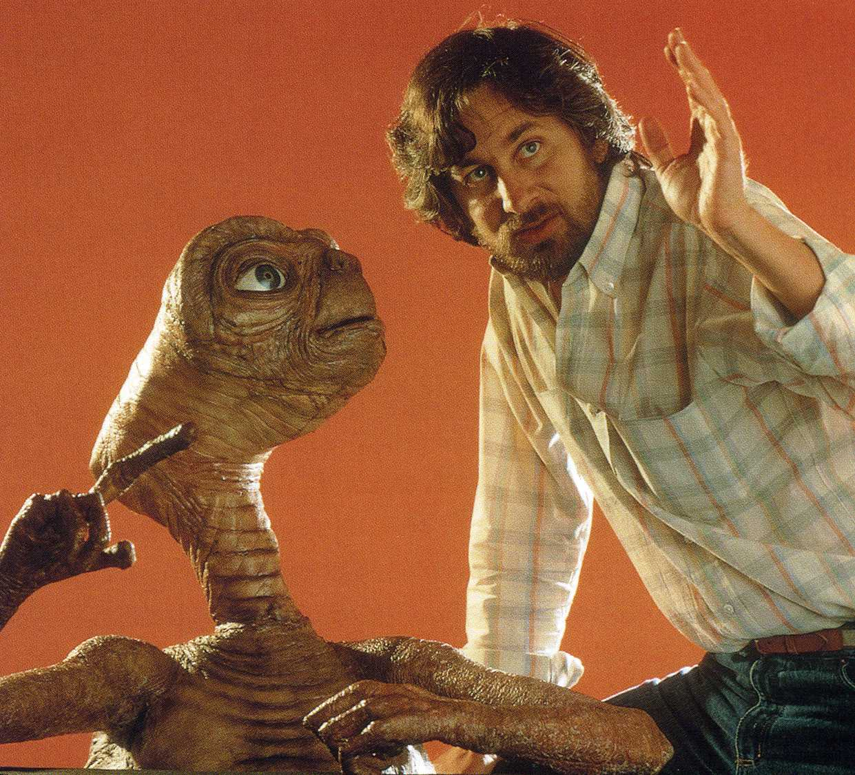 Steven Spielberg with E.T., one of his greatest 80s creations.