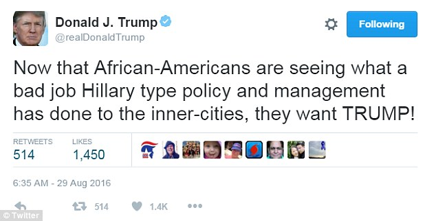 The new Tweeter-in-Chief wasn't addressing black people with this gem.