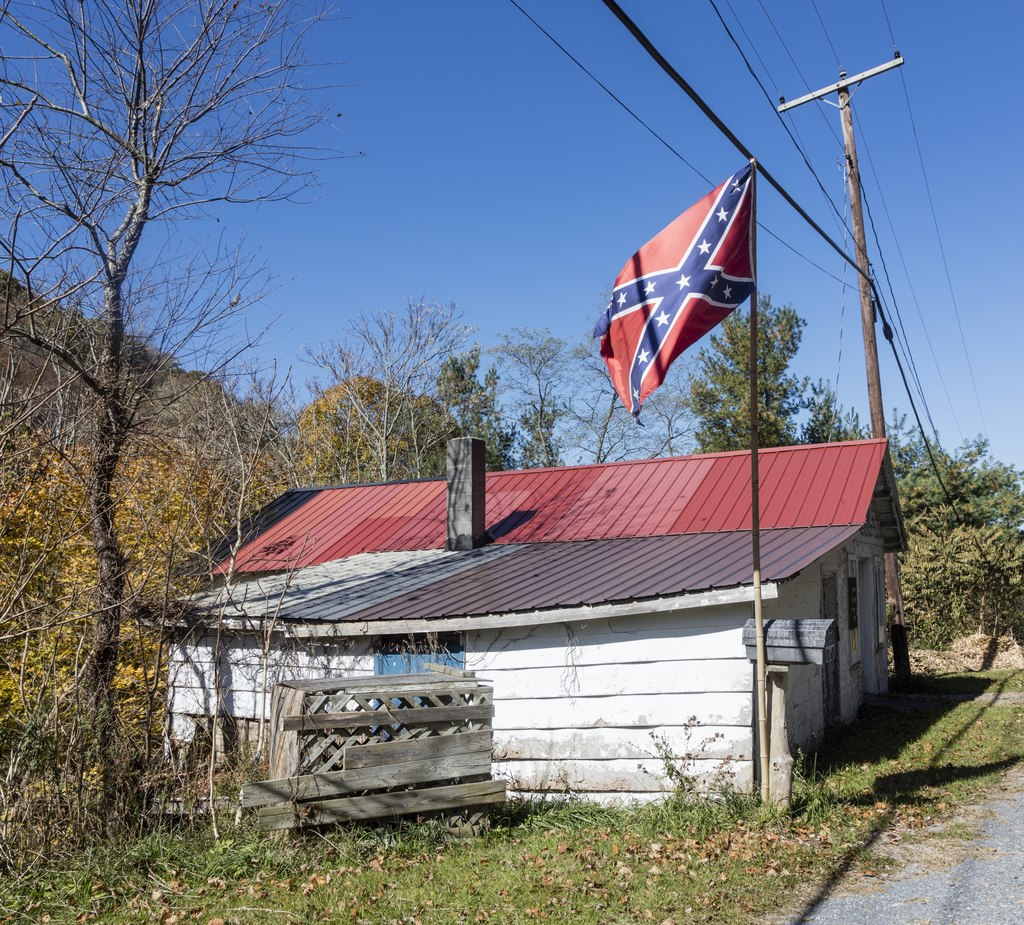 The Confederate battle flag flies in the unincorporated town of Gap Mills, southeastern West Virginia.