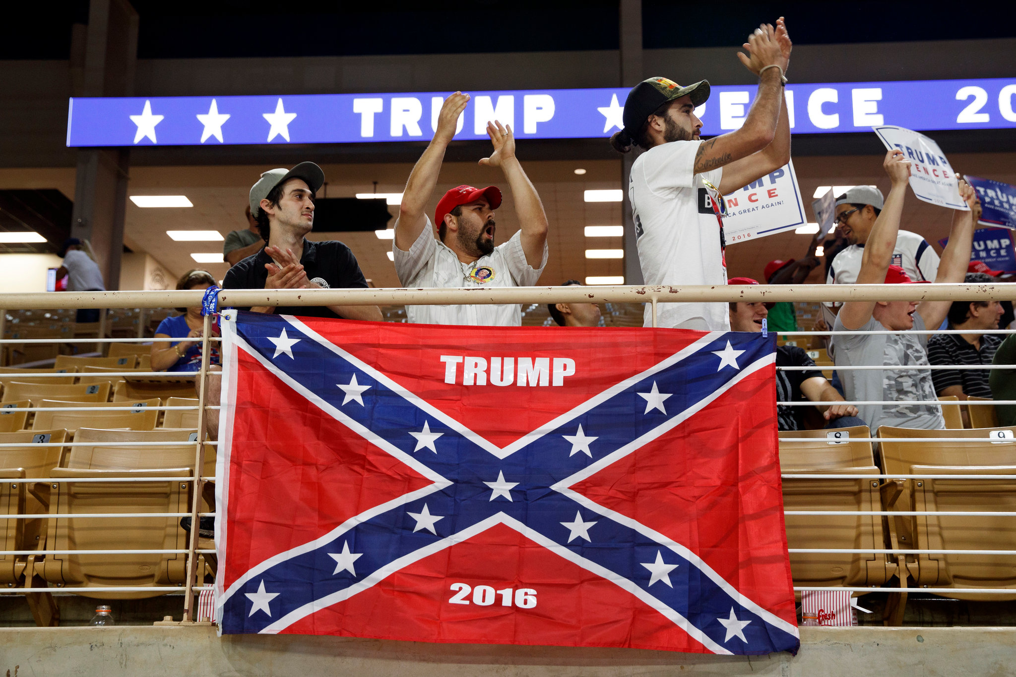 Trump supporters with Confederate flag